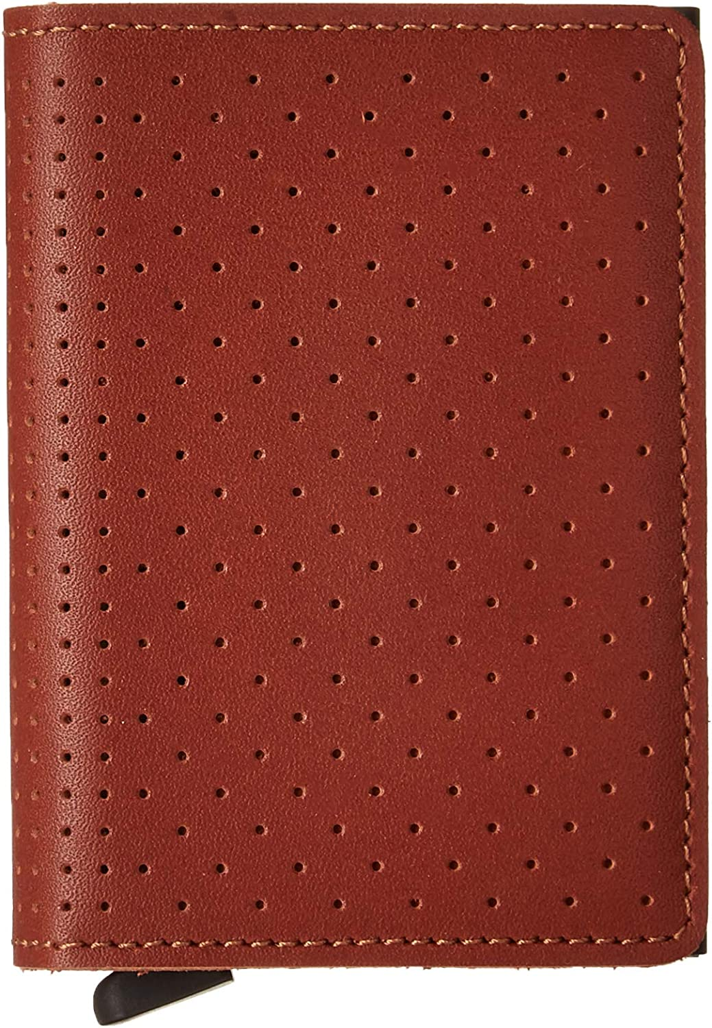 Secrid Slim Wallet Genuine Leather Perforated Cognac Safe Card Case max 12 cards