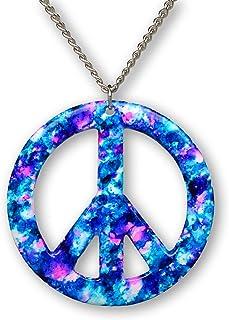 Real Metal Purple Blue Hippie Tie Dye Peace Sign Enamel on Pewter Pendant Necklace (Large)