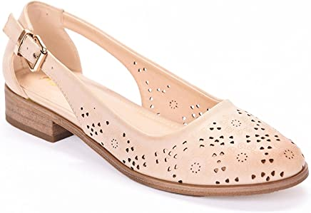 22b6077c2f ANDREW STEVENS Lerane Ballet Shoes for Women | Stacked Low Heel Sandal with  Laser-Cut