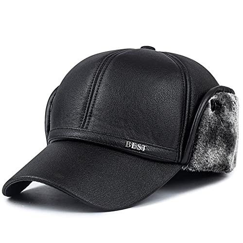5253e9520f6 Yooeen Mens Baseball Cap Hat with Faux Fur and Earflap Winter Warm  Waterproof Leather Flat Caps
