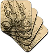 3dRose cst_164907_2 Gigantic Colossal Octopus Sea Monster Kraken. Pierre Denys De Montfort-Soft Coasters, Set of 8