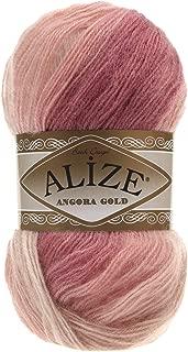 20% Wool 80% Acrylic Soft Yarn Alize Angora Gold Batik Thread Crochet Lace Hand Knitting Turkish Yarn Lot of 4skn 400gr 2408yds Color Gradient 5652