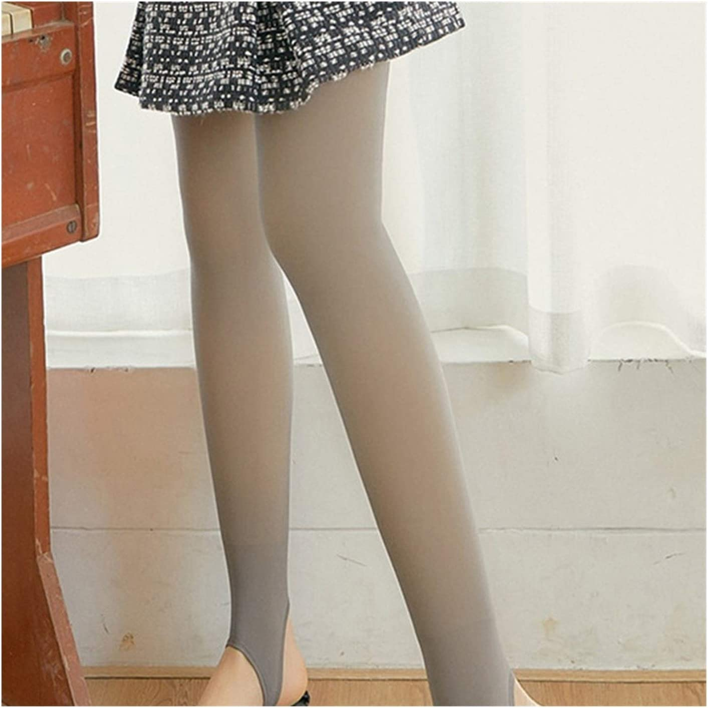 Linyuex Plush Pantyhose Ranslucent Warm Fleece Pantyhose Slim Stretchy for Winter Outdoor (Color : Gray Step Foot)