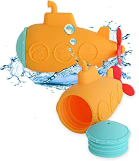 MARCUS&MARCUS Squirting Baby Bath Toy   Safe Silicone & Mold Free Toy for Bath Time   Infant & Toddler Toys   Yellow Submarine