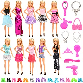 Barwa 30 PCS Items for 11.5 Inch 30 cm Dolls: 10 Clothes Dresses Outfits + 10 Pair Shoes + 10 Accessories
