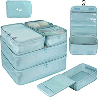 DIMJ Packing Cubes for Travel, 8 Pcs Travel Cubes for Suitcase Lightweight Travel Essential Bag with Large Toiletries Bag ...