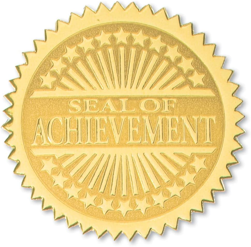 PaperDirect Seal of Achievement Embossed Gold Certificate Seals, 102 Pack