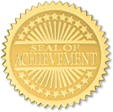 Seal of Achievement Embossed Gold Certificate Seals, 102 Pack