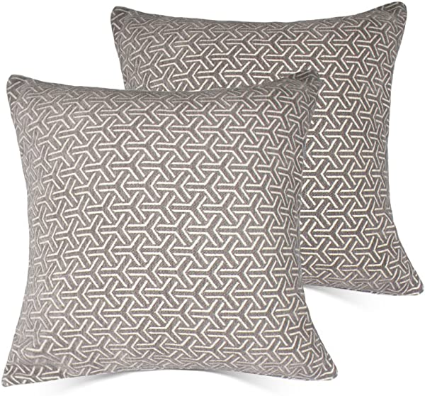 MRNIU Set Of 2 Cushion Covers Throw Pillow Covers Coastal Cushions Covers Cotton Home Decorativ Grey 3 18 X 18 Inch