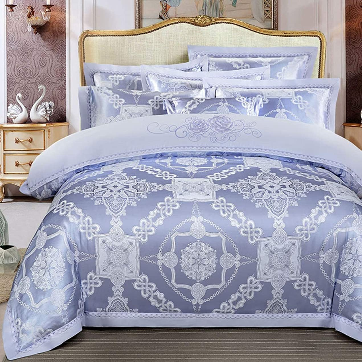リクルートくるみ緊急Kainuoo シンプルなコットンサテンジャカードピュアコットン寝具4セット (Color : Blue, Size : King)