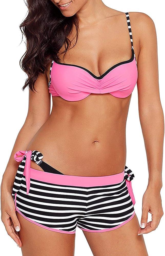 Chechury, costume da bagno per donna, tre pezzi, reggiseno imbottito, rosa, 82% poliammide, 18% elastan