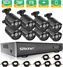 SMONET 16 Channel Security Camera System,5-in-1 5MP Security Camera Systems(1TB Hard Drive),8pcs1080P Indoor Outdoor Home Security Cameras,DVR Kits for Easy Remote Monitoring,Super Night Vision
