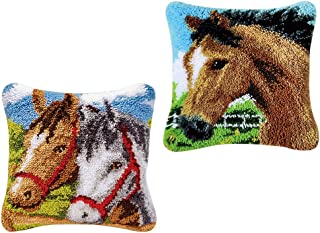 Baoblaze 2 Set Horse Latch Hook Kits for DIY Pillow Cover Sofa Cushion Cover with Pattern Printed 43x43cm