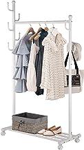SINGAYE Clothes Rack 2-in-1 Coat Rack Rolling Garment Rack with Bottom Shelves, 7 Side Hooks, Lockable Wheels, Rolling Clo...