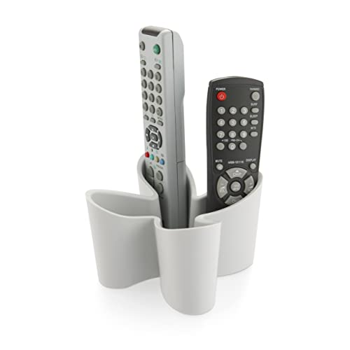 j-me Cozy Remote Control Tidy Remote Holder and TV Remote Organiser (Cool grey) - Holds up to Four Remote Controls of All Sizes - Non-slip Rubber - Perfect for End Table or Nightstand