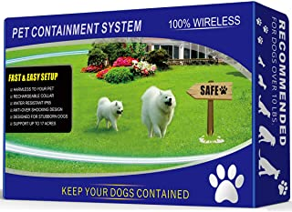 1 Dog Wireless Pet Containment System - Rechargeable and Waterproof Collar - 100% Safe & Easy to Install WiFi Radio Dog Fence - No Wire, No Dig, No Bury - Large Coverage Area up to 17 Acres (Black)
