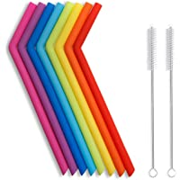 Hiware 10 Pieces Reusable Silicone Drinking Straws with Cleaning Brushes for 30 oz Tumblers