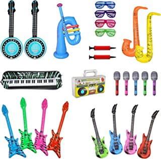 24 Inflatable Rock Star Toy Set,Inflatable Guitar and Bass,Microphones,Shutter Shading Glasses,Inflatable Flute and Saxophone,Inflatable Keyboard Piano,Trumpet,Inflatable Boom Box for Party Favors