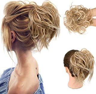 HMD Tousled Updo Messy Bun Hair Piece Hair Extension Ponytail With Elastic Rubber Band Updo Extensions Hairpiece Synthetic...