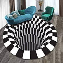 Round Area Rug, Velvet Printed Carpet,Not-slip Washable Floor Mat 3D Visual Illusion Shaggy Rug Living Bedroom Decoration ...
