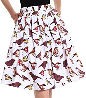 Yige Women's Vintage A-line Printed Pleated Flared Skirts with Pocket