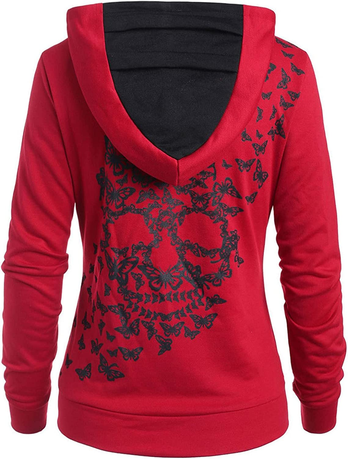 Plus Size Max 44% OFF Womens Butterfly Skull Casual Fashion Hoodie Virginia Beach Mall Print Rou