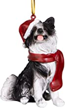 Design Toscano Border Collie Holiday Dog Ornament Sculpture, Full Color