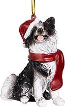 Design Toscano Border Collie Holiday Dog Ornament Sculpture, Full Color