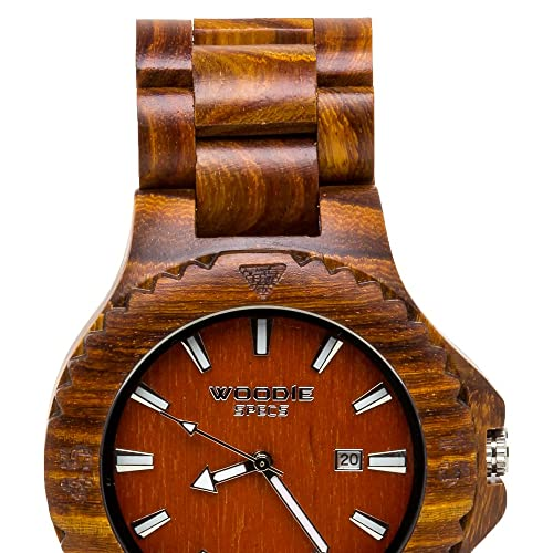 Handmade Mens Solid Wood Watch Made with 100% Natural Red Sandalwood