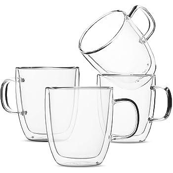 BTaT- Insulated Coffee Mugs, Glass Tea Mugs, Set of 4 (12 oz, 350 ml), Double Wall Glass Coffee Cups, Tea Cups, Latte Cups, Glass Coffee Mug, Beer Glasses, Latte Mug, Clear Mugs, Glass Cappuccino Cups