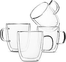 BTaT- Insulated Coffee Mugs, Glass Tea Mugs, Set of 4 (12 oz, 350 ml), Double Wall Glass Coffee Cups, Tea Cups, Latte Cups...