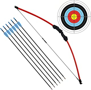 """kaimei 45"""" Archery Bow and Arrow Set Start Recurve Bow Outdoor Sports Game Hunting Toy Gift Bow Kit Set with 6 Arrows 18 L..."""