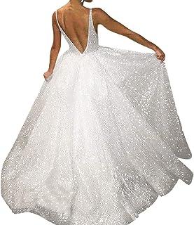 34ac19e3b24 FAPIZI Fashion Women V Neck Sleeveless Backless Sequin Solid Sling  Bridesmaid Party Sheath Long Dress