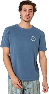 Rhythm Men's Shangri La Mens Tee Crew Neck Short Sleeve Cotton Blue
