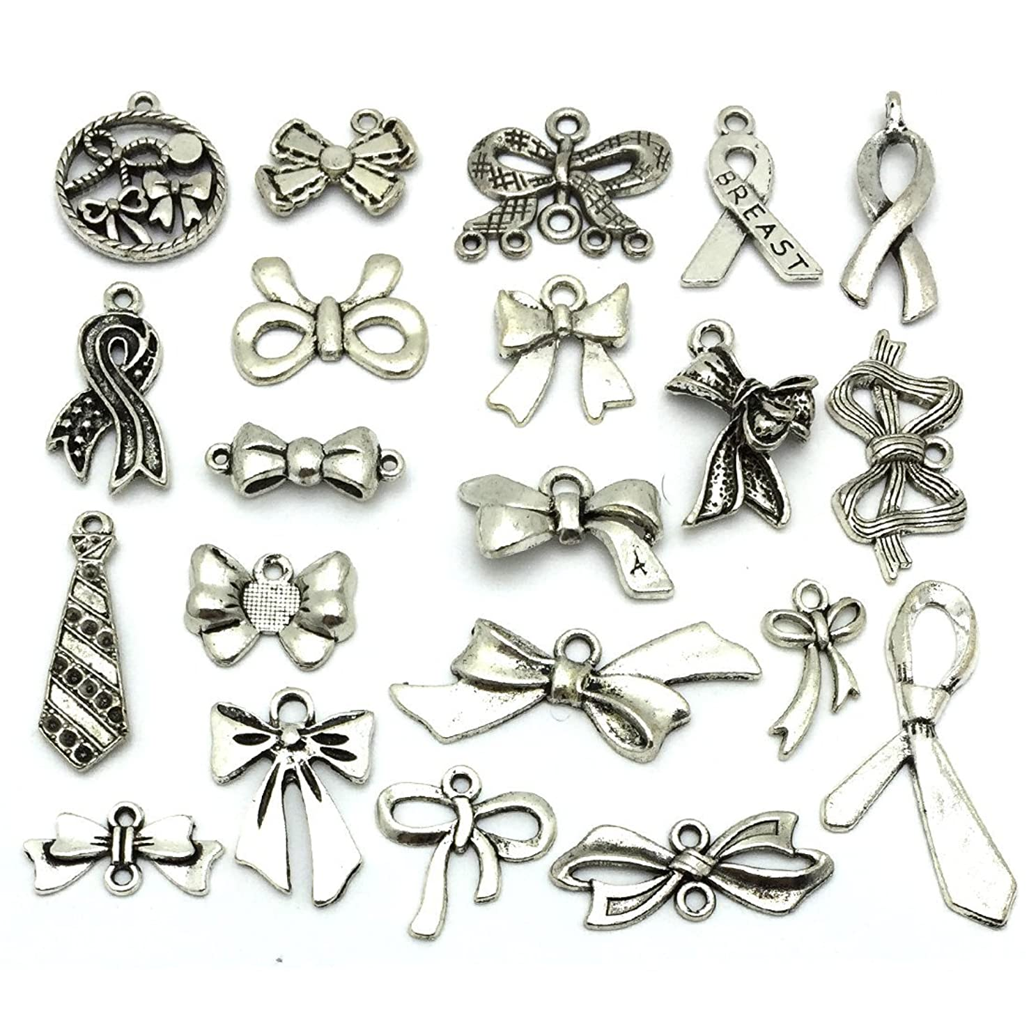 Bow Tie Charms, JIALEEY Wholesale Bulk Lots Antique Silver Alloy Charms Pendants DIY for Necklace Bracelet Jewelry Making and Crafting