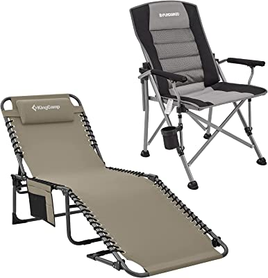 KingCamp 4-Fold Outdoor Folding Chaise Lounge Chair+Adjustable Hard Arm Camping Chair,Folding High Back Padded Lawn Chair,Portable Camp Chairs for Outdoor Fishing Picnic Concert Sport Events Backyard