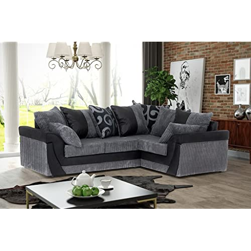 pretty nice cbf24 32893 Black and Grey Corner Sofa: Amazon.co.uk