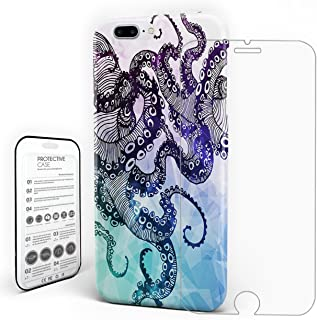 Kraken Nautical Monster Blue Octopus Phone Case Durable Design Hard Back Ptotective Slim Case For iPhone 6/6s With Tempered Glass Screen Protector