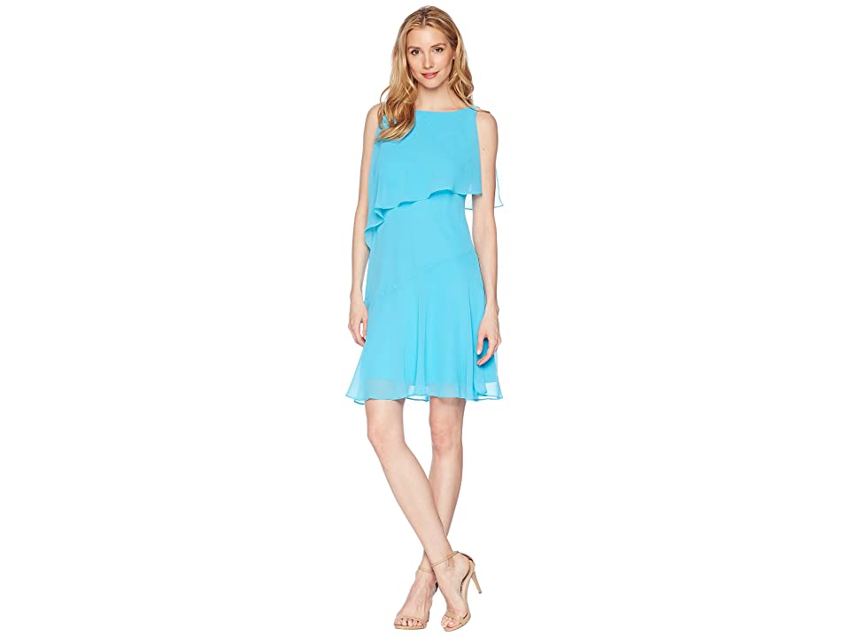 LAUREN Ralph Lauren Georgette Hobson Dress (Urbane Turquoise) Women