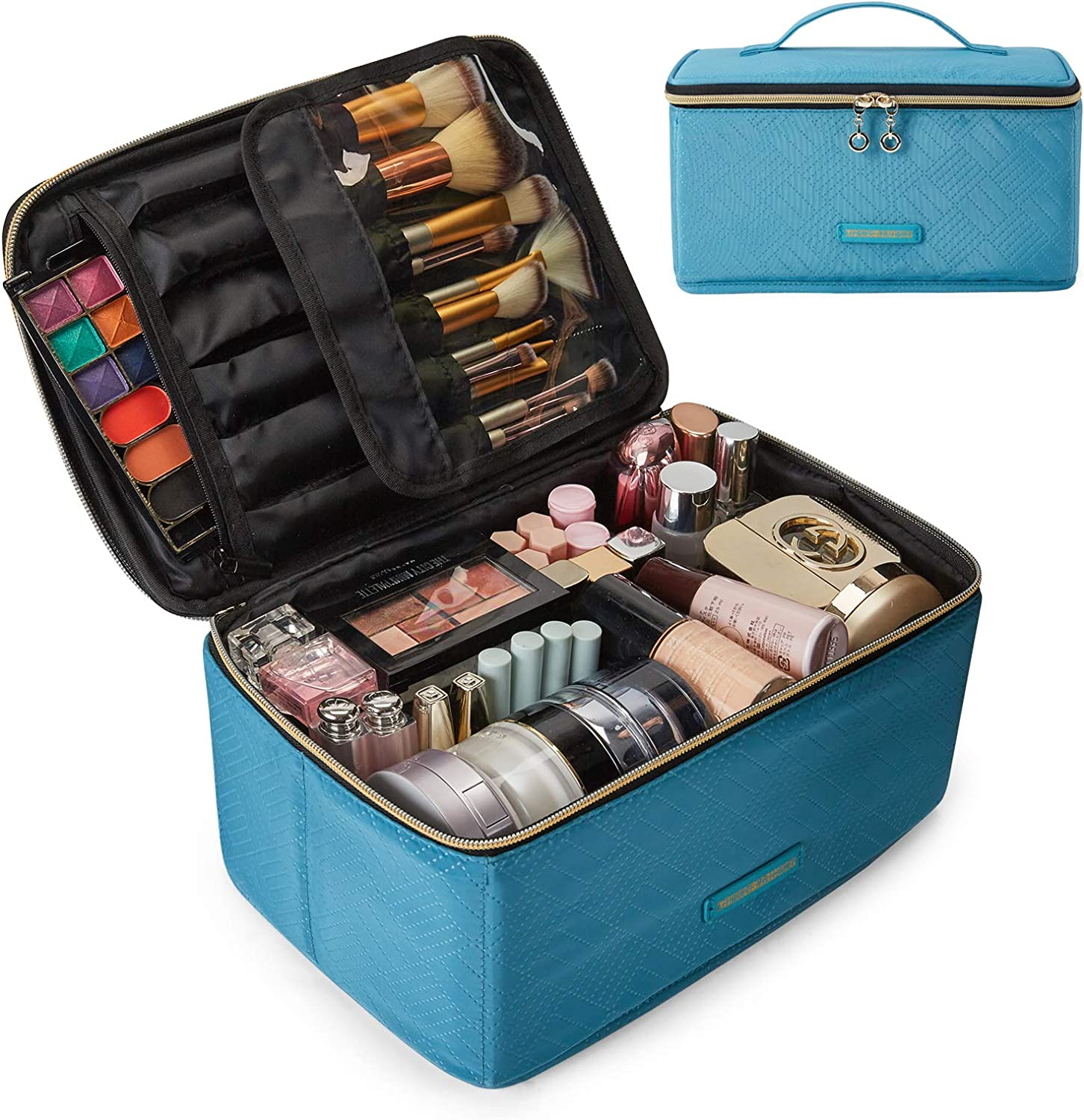 LIGHT FLIGHT Travel Makeup Bag Large Cosmetic Bag for Women Makeup Case Organizer with Adjustable Dividers for Cosmetics Make Up