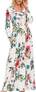 Women's Floral Fall Long Sleeve Pockets Casual Long Maxi Wrap Dress