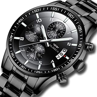 KASHIDUN Men's Watches Luxury Sports Casual Fashion Quartz Wristwatches Waterproof Chronograph Calendar Date Stainless Steel Band Black Color