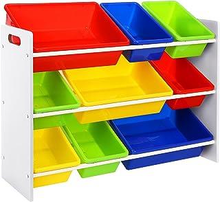 SONGMICS Estantería Organizadora para Juguetes y Libros, para Habitación Infantil, con 3 Niveles GKR02W