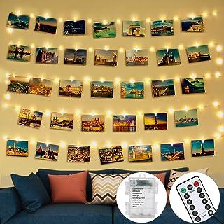 Guirlande Lumineuse Photo,Télécommandée 5M 50LED avec 30 Clips Photo et 8 Modes de Boîtier de étanche Guirlande Lumineuse ...