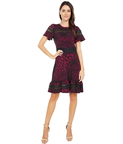 MICHAEL Michael Kors Animal Mesh Mix Short Sleeve Dress (Dark Ruby) Women