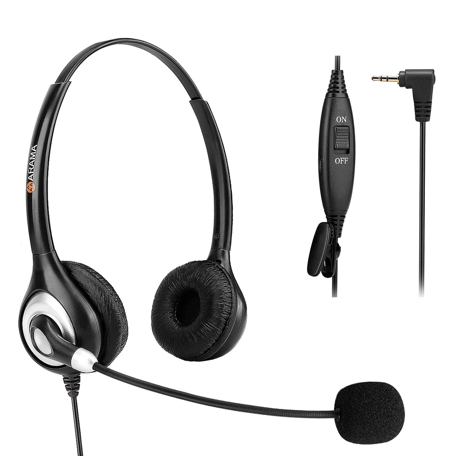 Amazon Com Phone Headset 2 5mm Telephone Headset With Noise Canceling Mic For At T Panasonic Vtech Uniden Cisco Grandstream Polycom And Cordless Dect Phones Electronics