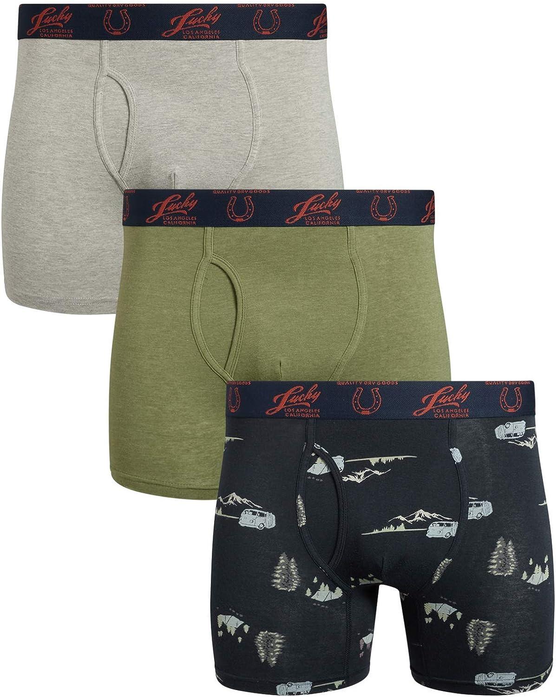 Lucky Brand Mens Lightweight Cotton Stretch Boxer Briefs Underwear (3 Pack)