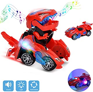 BEFANS Transforming Dinosaur Toys ,Dinosaur Transformer Toy Car with LED Light and Music Automatic for Kids Christmas Birthday Gifts - RED