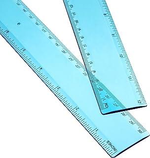 ابزار اندازه گیری پلاستیکی 2 بسته 12 اینچ آبی پلاستیکی خط کش مستقیم برای دفتر مدرسه دانش آموزی