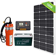 ECO-WORTHY Solar Battery Well Pump Kit, Solar DC Water Pump Kit,12V Water Pump + 100W 18V Solar Panel Monocrystalline + 20A Controller + 100Ah Battery for Irrigation Water Supply